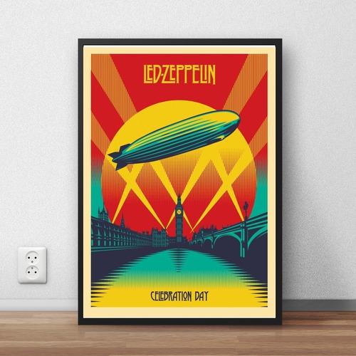 coleção led zeppelin quadros decorativos moldura premium