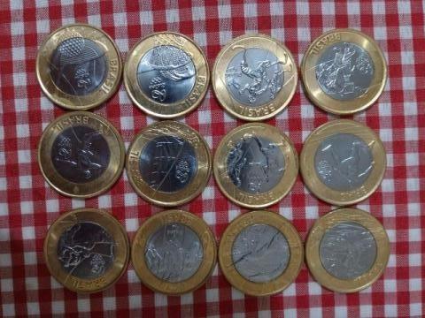 coleção moedas de 1 real olimpiadas 2016, 12 moedas