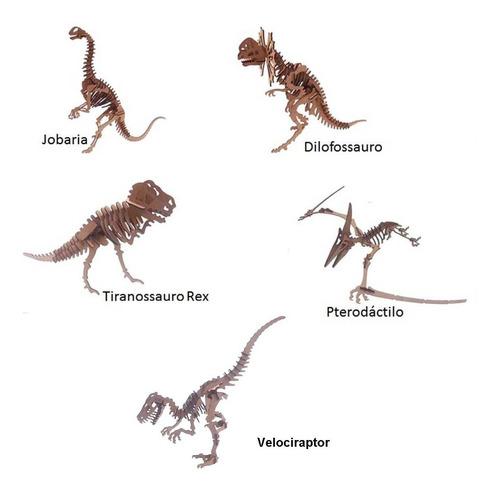 coleção quebra cabeça puzzle 3d kit 5 dinossauro genitori