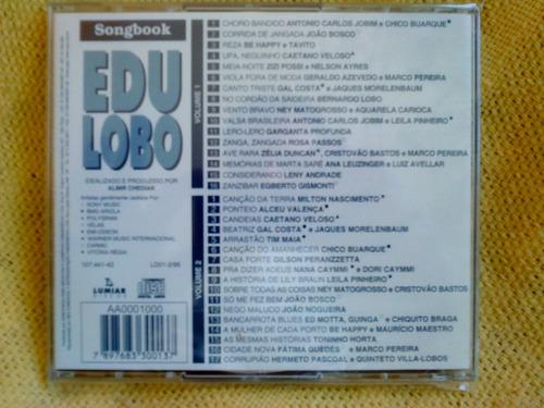 coleção songbook edu lobo 2 cds 1ª edição 1995 raro lacrado