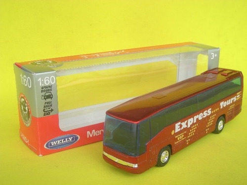 colectivo ómnibus mercedes benz escala 1:60 welly bus rojo