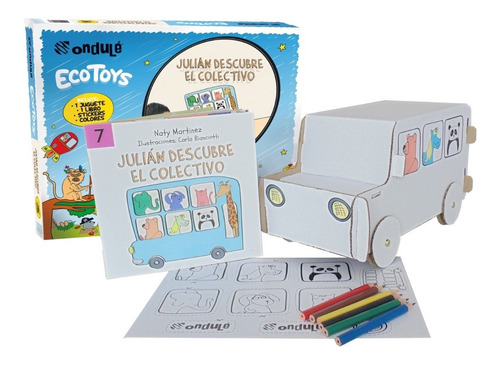 colectivo para pintar + stickers + libro julian colectivo