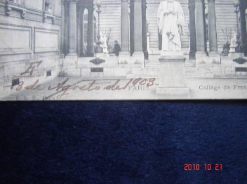 colegio de francia,  antigua postal. 1903