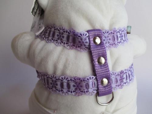 coleira cachorro peitoral e guia nylon lilás com renda nº2