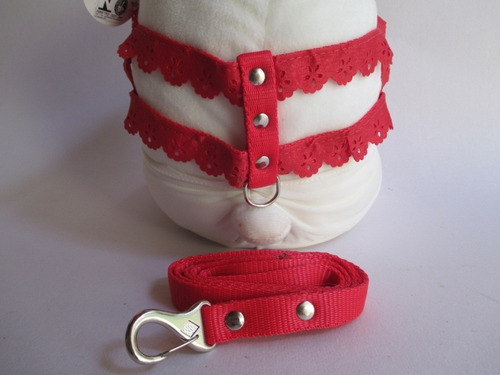 coleira cachorro peitoral guia nylon vermelha c/ renda  nº4