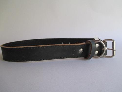 coleira couro forrada p/cães nº 8 fivela de ferro preta