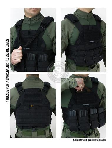 colete airsoft tático militar tactical dacs - preto top
