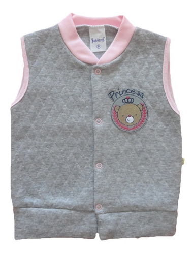 colete bebê menina matelassê 100% algodão 1 - 2 - 3 anos