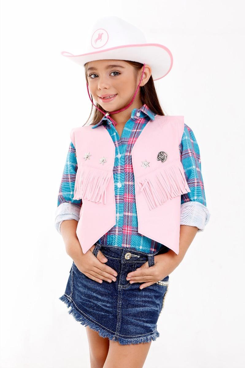 fd6e9e56c49e8 colete cowboy country menina rosa com chapeu infantil. Carregando zoom.