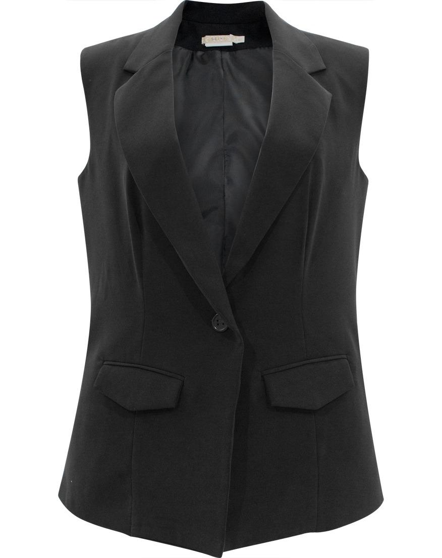 add909a61d colete feminino alfaiataria social com botão seiki preto 210. Carregando  zoom.