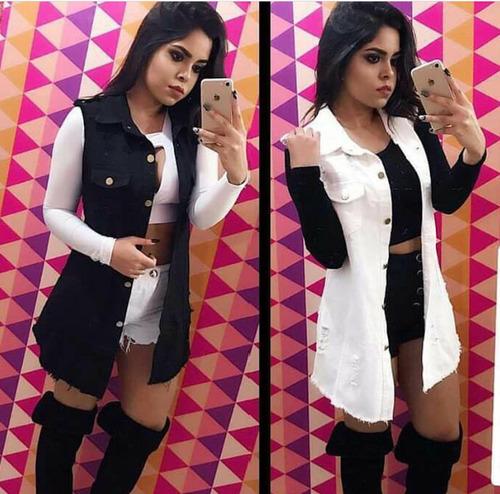colete feminino jeans comprido  promoção  p m g gg