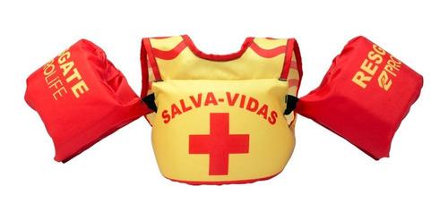 colete infantil ajustável com boia de braço até 7 anos