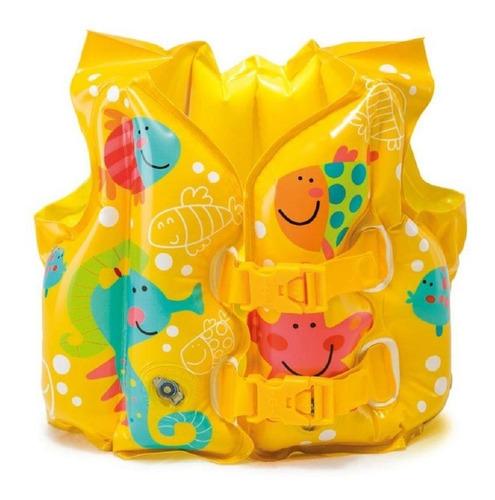 colete inflável salva vidas infantil peixinhos intex piscina