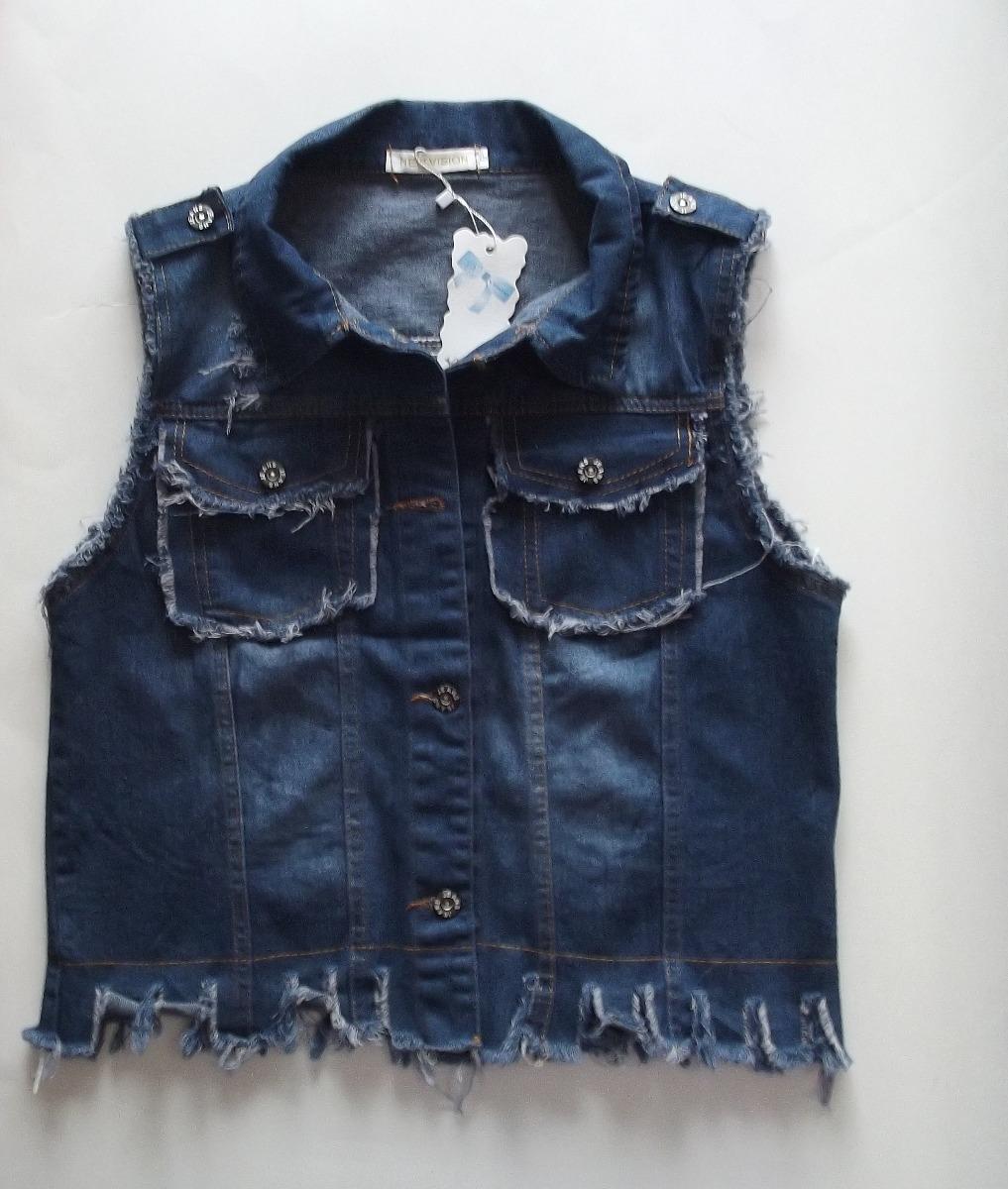 colete jeans azul escuro com renda feminino customizad unico. Carregando  zoom. a0302d4311fb4