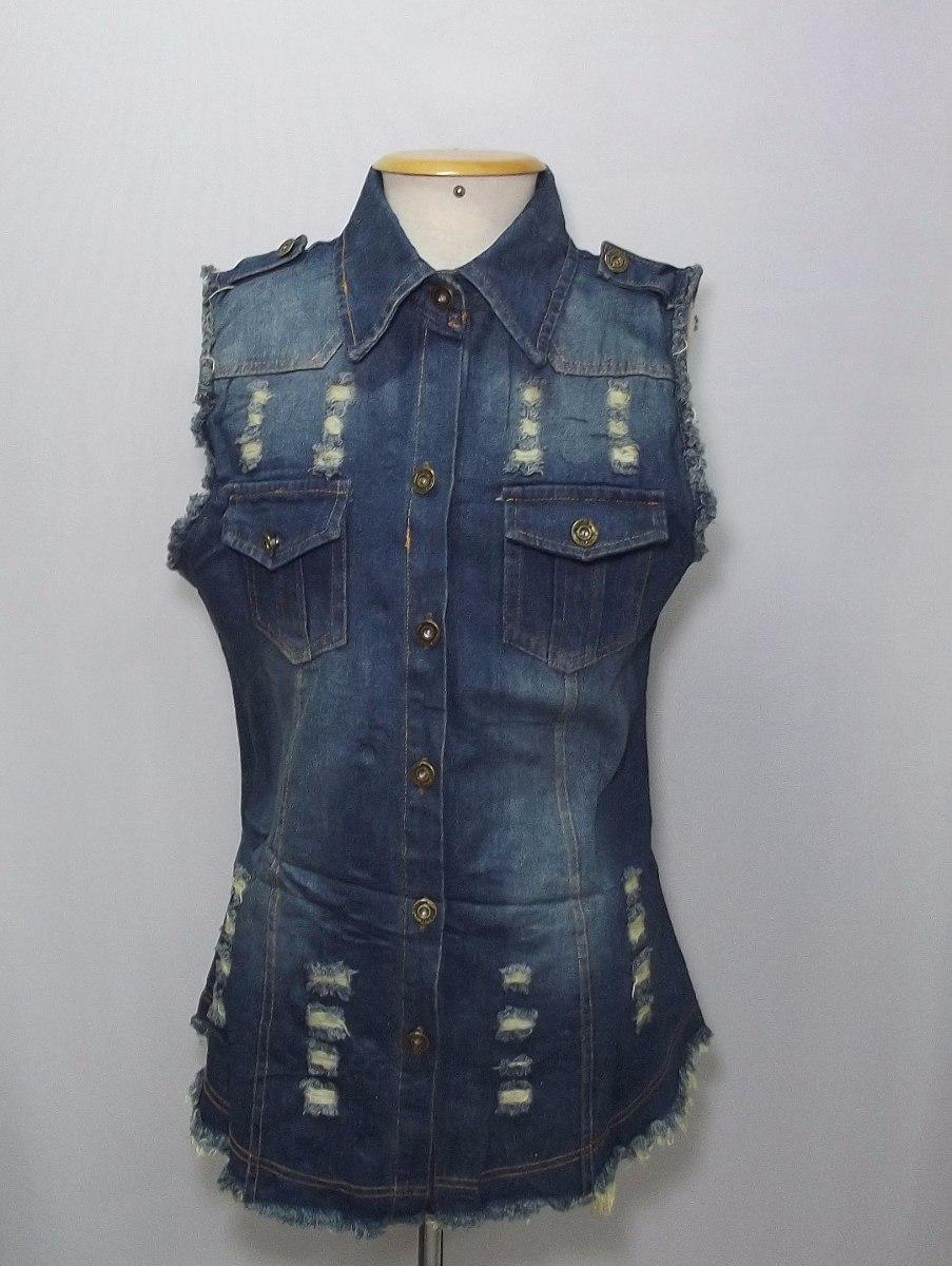 6c5b7b34be9c colete jeans azul escuro feminino longo comprido rasgado. Carregando zoom.
