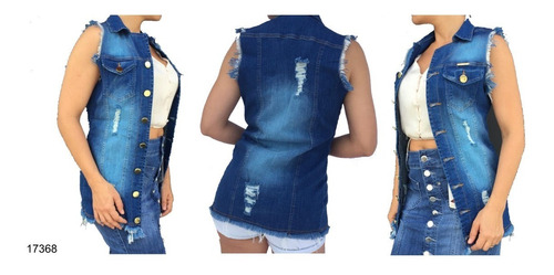colete jeans c/ lycra escuro 2019 estilo pit bull 17368