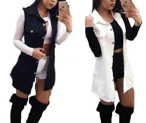 colete jeans comprido feminino com 2 bolso