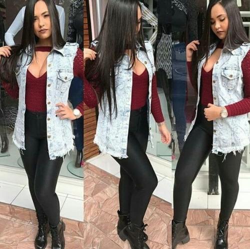 colete jeans comprido feminino  com 2  bolso   foto  real
