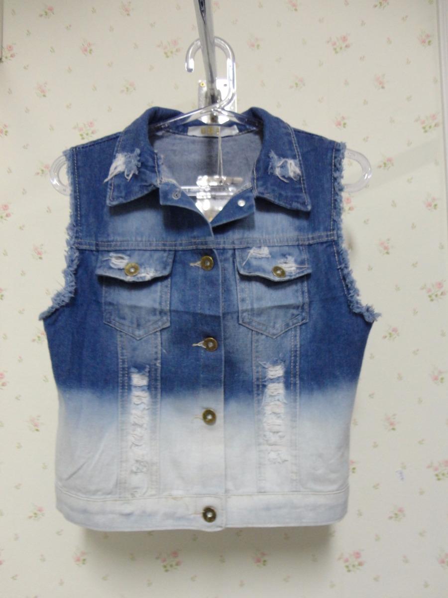 3af3efd3151a Colete Jeans Degrade Rasgado - R$ 75,90 em Mercado Livre