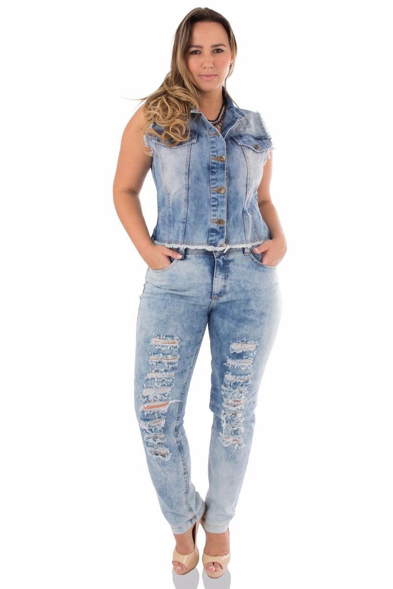 95771b4a086d3c Colete Jeans Feminina Plus Size Brunfer Jeans 100% Original