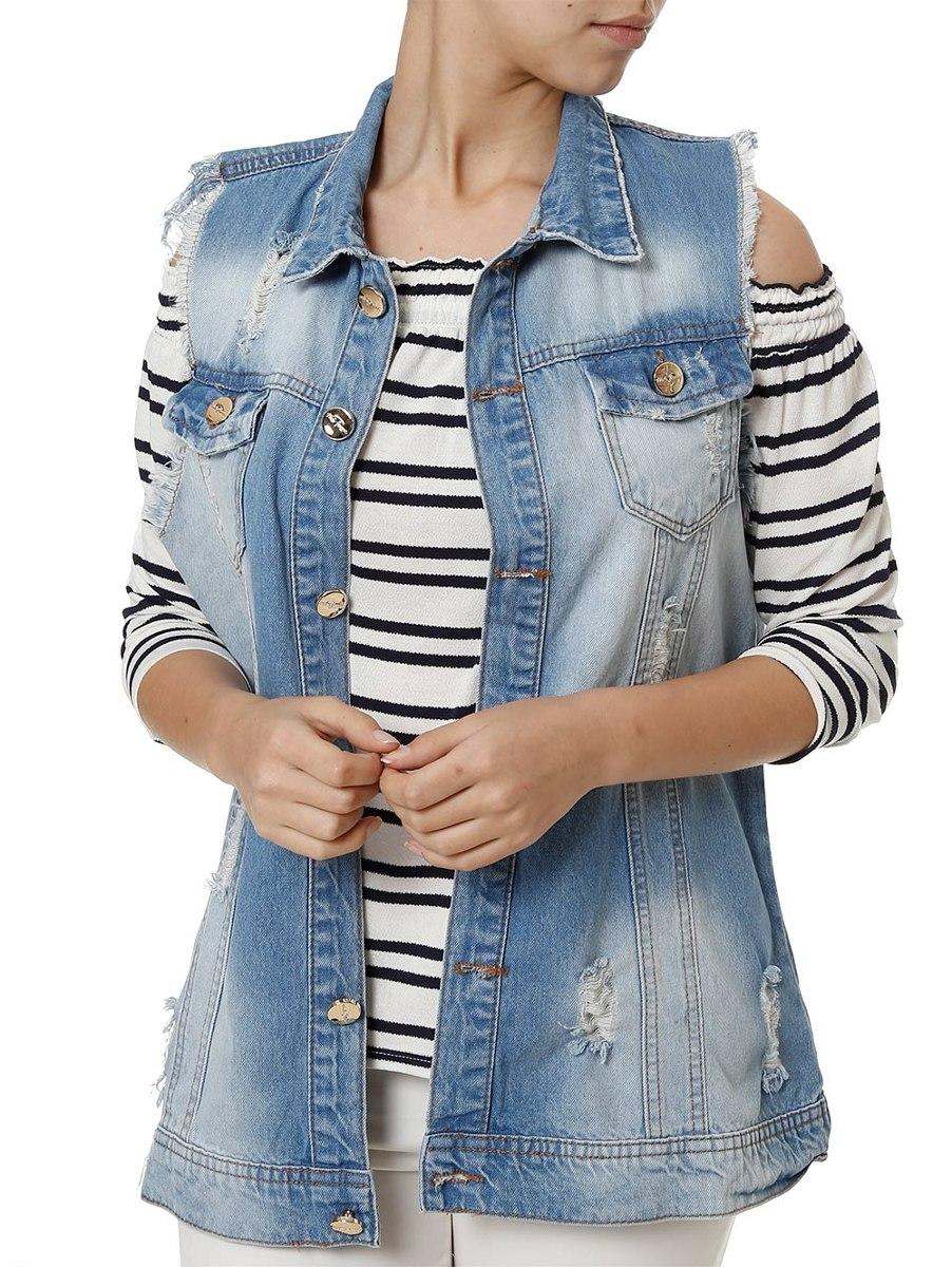 colete jeans feminino azul. Carregando zoom. 12d4025077ed1