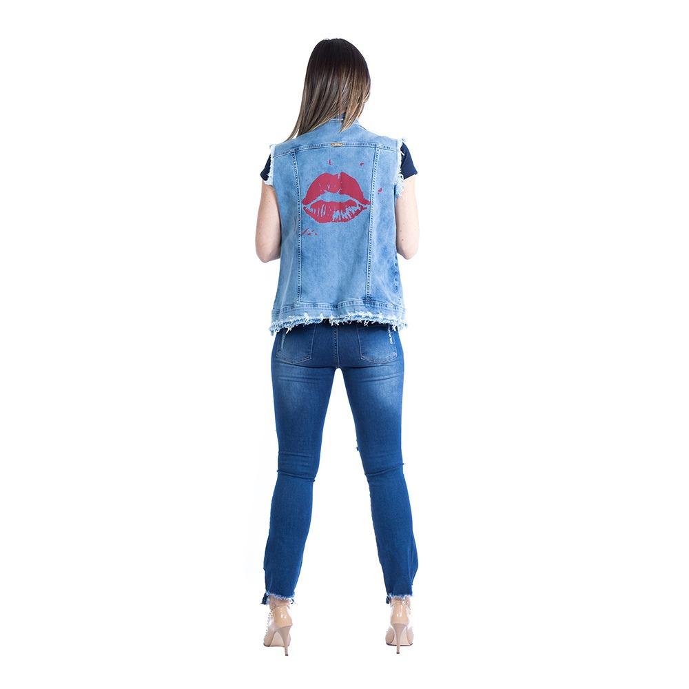 colete jeans feminino carlan destroyed estampado. Carregando zoom. 18fedb5caf833