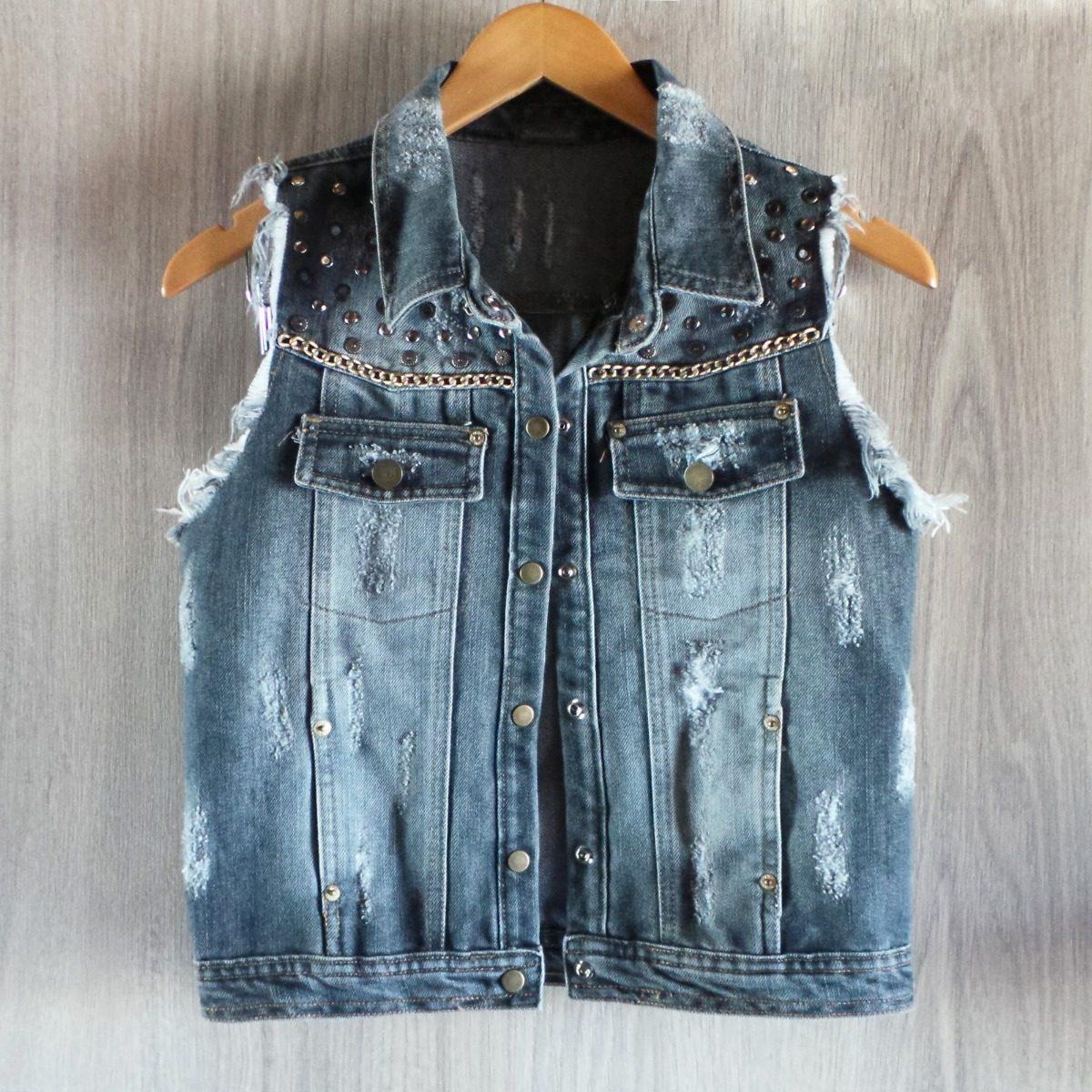 8b7b61f678d1 Colete Jeans Kamdesh Rasgado Destroyed Spike Estonado - R$ 189,00 em ...