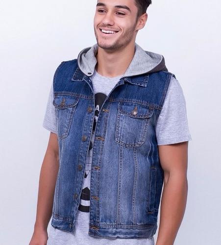 colete jeans masculino com capuz