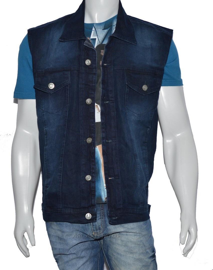 Colete Jeans Masculino Malha Grossa Tecido 100% Algodão - R  96 ffe2ed25e7bec