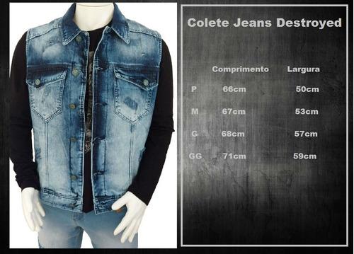 colete jeans masculino rasgado destroyed