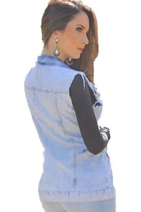colete jeans max comprido desfiado bolsos moda instagram