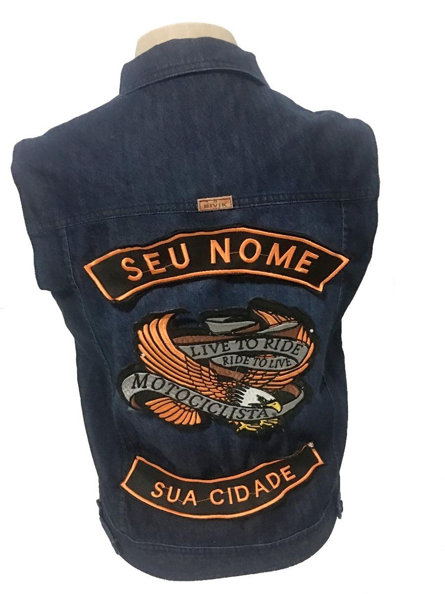 f8beaacaa0353 colete jeans motociclista com bordado motoclube masculino. Carregando zoom.