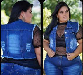 afdd2020e Colete Jeans Plus Size G1 G2 G3 Curto Foto Real Moda Plus