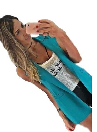 colete longo feminino sem manga gola neoprene blogueiras
