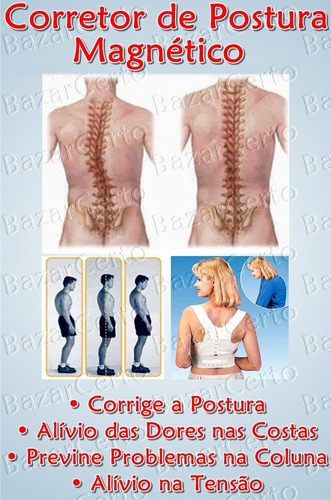 colete postural magnético dor na coluna frete grátis preto