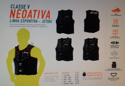 colete salva-vidas ativa neopreme gg acima de 110 kg classe