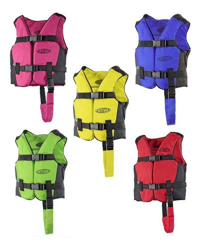 colete salva vidas canoa esportivo infantil 20kg ativa cores