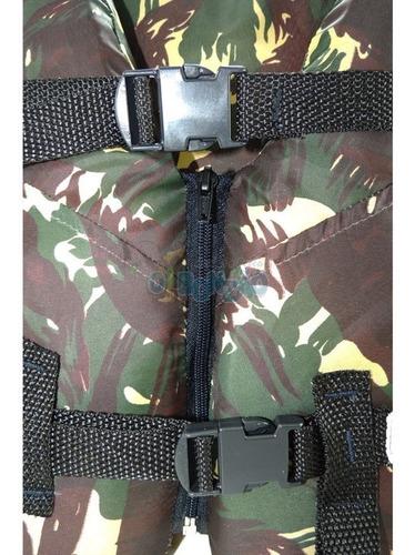 colete salva vidas piracema camuflado 80kg com ziper