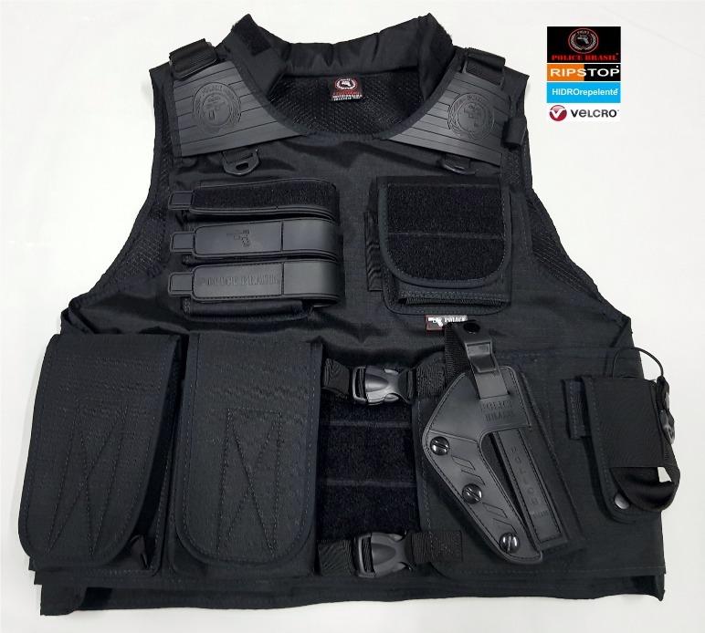 8e2a86882e243 Colete Tático Com Porta Placas Balísticas - Police Brasil 01 - R ...