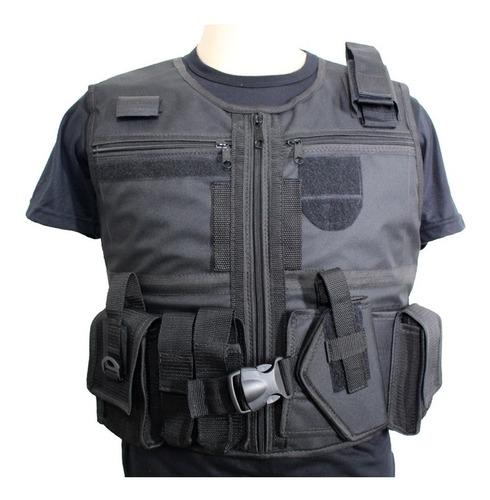 colete tático militar + kit bornal, coldre, cinto tático