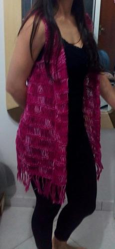 colete tipo kimono em tricô tricot de linha - tamanho m