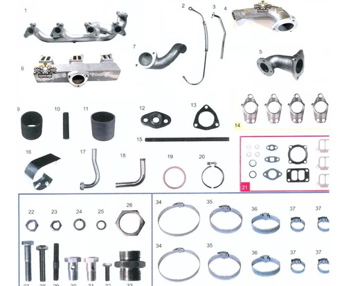 coletor escape turbo e admissão om 366  + componentes