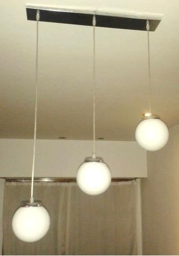 colgante 3 globos vidrio 15 cm.diam. metal cromo gon ilumina