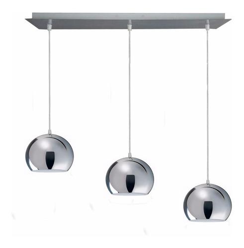 colgante 3 luces cromo deco apto led moderno luz desing