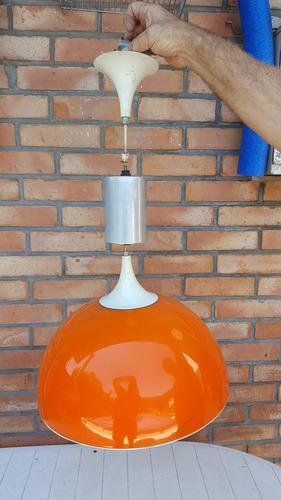 colgante acrilico diseño retro redondo naranja vintage 60