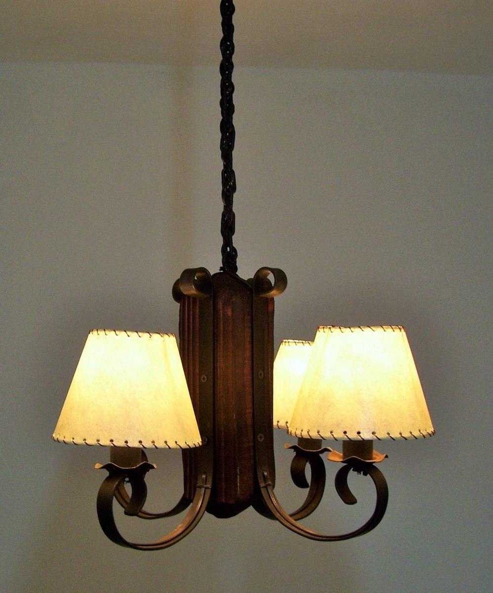 Colgante ara a en hierro y madera rustica 4 luces oferta - Lamparas de techo ofertas ...