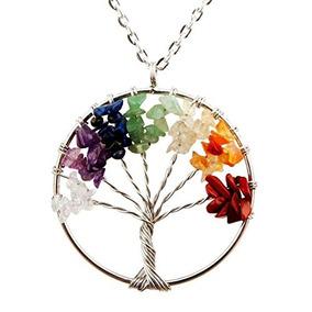 Jovivi Llavero con Colgante de /árbol de la Vida de Plata Piedra Preciosa Hexagonal Envuelto en Cristal curativo