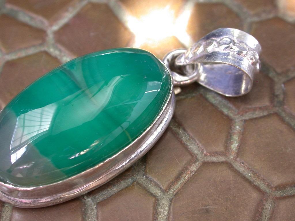 Colgante ba o plata tibetana piedra agata verde oferta for Bano de plata precio