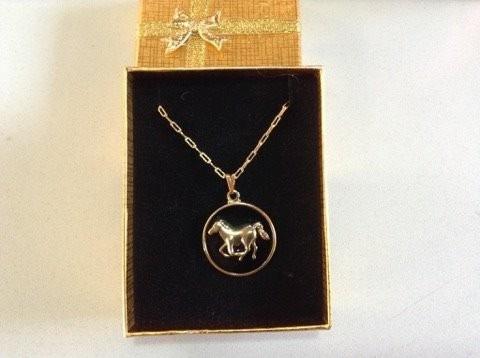 colgante caballo con cadena peltre / bauldeaperos