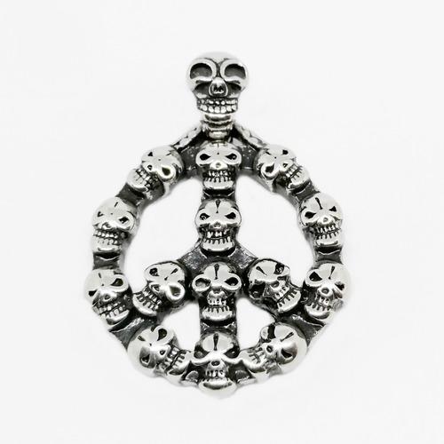 colgante calaveras simbolo de paz - peace skulls (c/cadena)